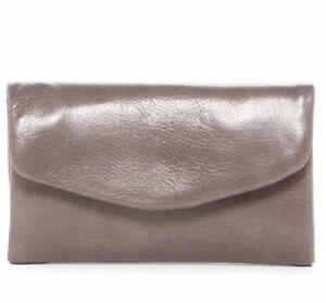NWT Women's HOBO International Leather Lacy Small Trifold Wallet Granite Gray
