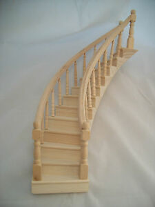 SPIRAL STAIRCASE Classic wood dollhouse miniature Right CLA70222 1 12 scale $64.99