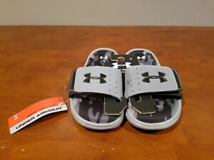 NWT Under Armour Boys Youth Camo Ignite III Sandals Size 6Y