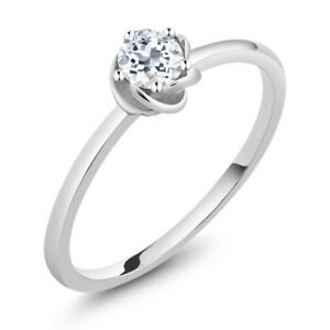 10K White Gold Solitaire Engagement Ring 0.33 Ct Round White Topaz