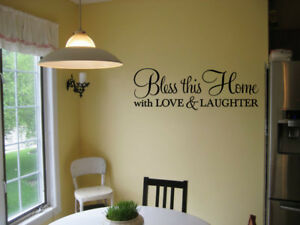 BLESS THIS HOME WITH LOVE amp; LAUGHTER HOME WALL QUOTE DECAL VINYL WORDS STICKER