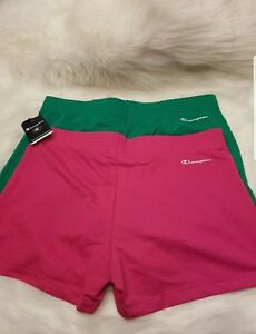 Champion Women's Workout Fitness Running Shorts Lot of Two SZ MED pinkgreen