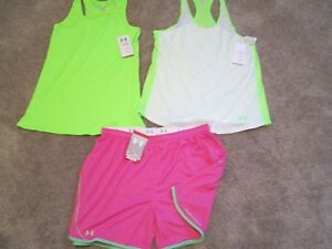 NEW Womens UNDER ARMOUR 3Pc Outfit 2 Tank Top+PinkGreen Shorts XL FREE SHIP