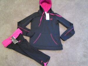 NEW Womens UNDER ARMOUR 2pc OUTFIT Compression Capri+Blk Hoodie SM FREE SHIP!