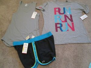 NEW Womens UNDER ARMOUR 3Pc RUNNING Outfit Tank+Graphic Tee+Shorts LG FREE SHIP