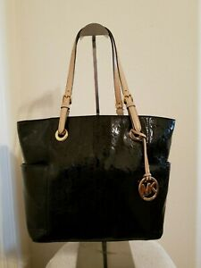 Michael Kors Black Patent Leather Signature Large Tote Handbag Purse Tan Handles