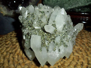 Crystal Point Quartz Huge Cluster and Pyrite on White Stone Gorgeous {Unique}