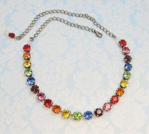 Bright RAINBOW Cup Chain Necklace w COLORFUL Swarovski Crystals TENNIS Necklace