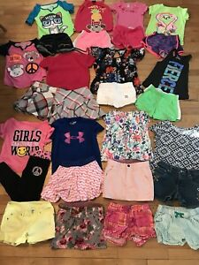 Girls 28 Pc Lot Under Armour Justice Gymboree Nike Summer Shorts Tees Tanks 5 6