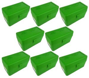 NEW MTM 50 Round Flip-Top 270 Win 280 Rem 30-06 Rifle Ammo Box - Green (8 Pack)