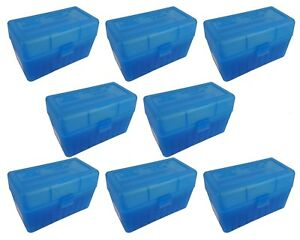 MTM 50 Round Flip-Top 270 Win 280 Rem 30-06 Rifle Ammo Box - Clear Blue (8 Pack)
