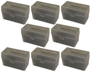 NEW MTM 50 Round Flip-Top 270 Win 280 Rem 30-06 Rifle Ammo Box - Smoke (8 Pack)