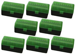 NEW MTM 50 Round Flip-Top 220 Swift 243 308 Win Ammo Box - Green Black (8 Pack)