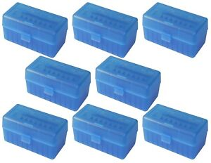 NEW MTM 50 Round Flip-Top 220 Swift 243 308 Win Ammo Box - Clear Blue (8 Pack)