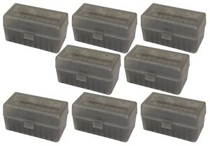 NEW MTM 50 Round Flip-Top 220 Swift 243 308 Win Ammo Box - Clear Smoke (8 Pack)