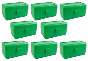 NEW MTM 50 Round Flip-Top .22-250 to 7.62 X 39 Rifle Ammo Box - Green (8 Pack)