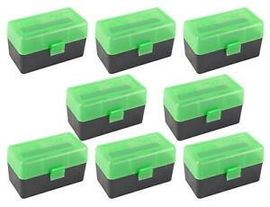 NEW MTM 50 Round Flip-Top .22-2507.62 X 39 Rifle Ammo Box - GreenBlack (8 Pack)