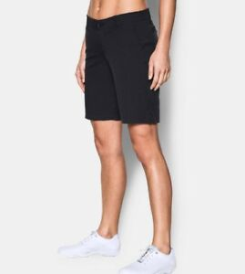 """Under Armour Womens Links 9"""" Golf Shorts Black Size 10 NWT"""