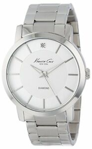 NWT Kenneth Cole KC9285 Men's Rock Out Silver Dial Diamond Dial Bracelet Watch