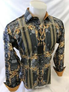 Mens PREMIERE Long Sleeve Button Down Dress Shirt GRAY GOLD ABSTRACT DESIGNER 37