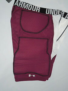 UNDER ARMOUR MPZ men's padded Basketball SHORTS  XL  compression  white Burgundy