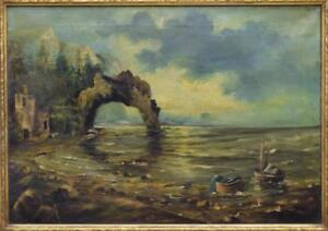 Antique Painting SeascapeOil on CanvasSigned Framed 19th C. 1800s Gorgeous $909.63