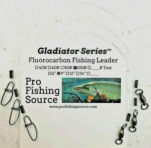 100lb 9quot; 12quot; or 16quot; Fluorocarbon 3 Pack Musky Leaders WR BB Swivel Ships Free