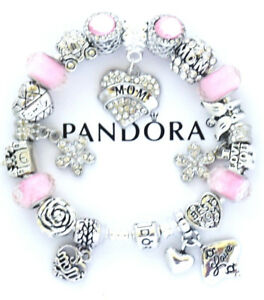 Pandora Charm Bracelet Silver Pink MOM Family Mother Day European Charms NIB