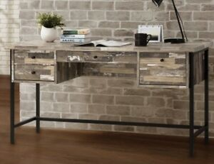 Unique Computer Desk Rustic Style Writing Office Drawers Laptop Weathered Wood