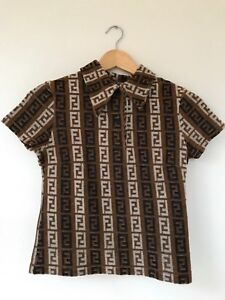 AUTHENTIC FENDI ZUCCA VINTAGE  MONOGRAM LOGOS SHORT SLEEVE TOPS KNIT BROWN