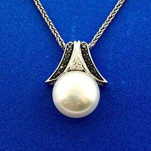 Elegant 14K White Gold Pearl Diamond Black Diamond Bridal Anniversary Necklace