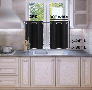 1 SET LINED BLACKOUT PANELS KITCHEN SMALL WINDOW CURTAIN TIER 24