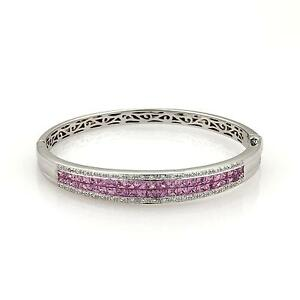 5.50ct Pink Sapphire & Diamond 14k White Gold Bangle Bracelet