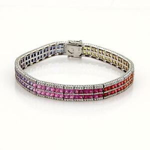 New 12.18ct Diamond & Multicolor Sapphire 14k White Gold 2 Row Bracelet