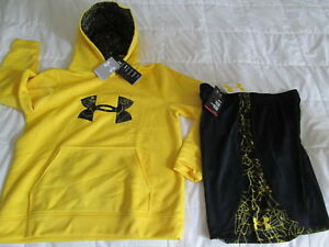 NEW Boys UNDER ARMOUR 2Pc OUTFIT Ylw Spiderweb UA Logo HOODIE+Shorts FREE SHIP
