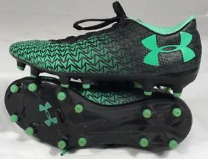 Under Armour Soccer Cleats sz 2 Y youth boys girls Turtle GreenBlack shoes  C