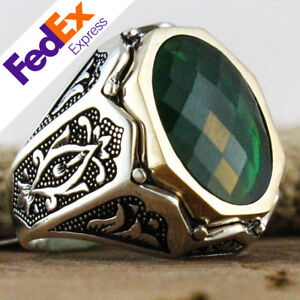 TURKISH Ottoman 925 Sterling Silver Jewelry Emerald Faceted Men's Luxury Ring