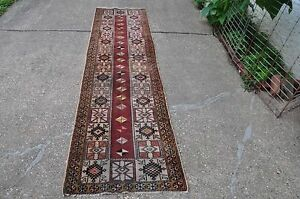 Old Caucasian Design Turkish Rug Runner 2.6x9.7