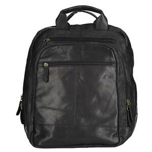 New CTM Men's Leather Top Zip Backpack with Laptop Sleeve