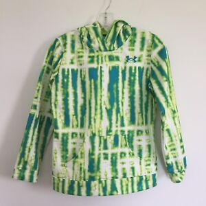 Under Armour Girls Storm Tie Dye Hoodie Size YL Youth Large Green Yellow