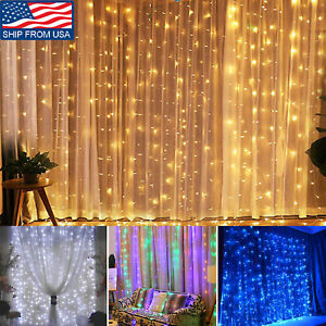 1200LED Christmas Curtain Fairy Hanging String Lights 8 Mode US Plug Connectable $19.99