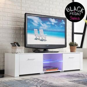 High Gloss TV Stand Unit Cabinet with LED Shelves 2 Drawers Console White