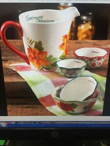 The Pioneer Woman POINSETTIA 4 Piece Measuring Bowl with Cup 5 Set Cups Prep
