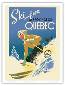 Canada - Ski Fun in the Provence of Quebec - 1930 Vintage Travel Poster Print