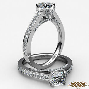 1.95ctw Pave Set Bridge Style Cushion Diamond Engagement Ring GIA E-VS1 W Gold