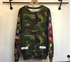 OFF WHITE co Virgil Abloh Camouflage 13 Printed Patches Sweatshirt