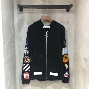 OFF WHITE co Virgil Abloh Zip-Up Arm Patches Hoodie Sweatshirt