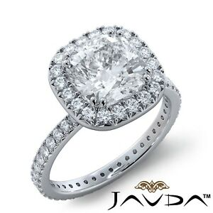 2.76ctw Slim Halo Style Cushion Diamond Engagement Ring GIA H-SI2 White Gold