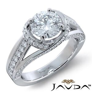 Bypass Design Pave Setting Women's Round Diamond Engagement Ring GIA H VS1 3.4Ct