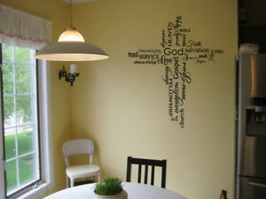CROSS COLLAGE VINYL WALL DECAL STICKER QUOTE DECOR LETTERING FAITH LIVING ROOM